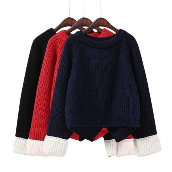 Maglione semplice solido sciolto donna morbido girocollo manica manica casual autunno inverno maglione manica lunga pullover top camicetta