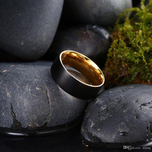 Simple Design Outside The Black Men's Stainless Steel Ring Carbon Fiber Gold Jewelry Rings For Man Biker Rings