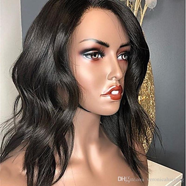 Top Grade Remy Human Hair Lace Front Wig Brazilian Hair Wavy 130% Density With Baby Hair Natural Hairline 100% Virgin African American Wig