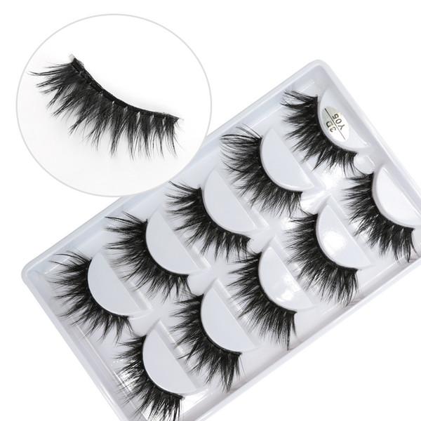 3D-Y05 5pairs/set Y series transparent terrier False EyeLashes 5 Pairs 3D Natural soft silk Eyelashes Handmade eyelashes
