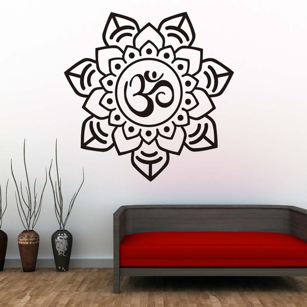 1 Pcs Om Sign Mandala Wall Sticker Art PVC Hollow Out Decals Indian Flower Pattern Wallpaper Living Room Wall Murals Home Decor