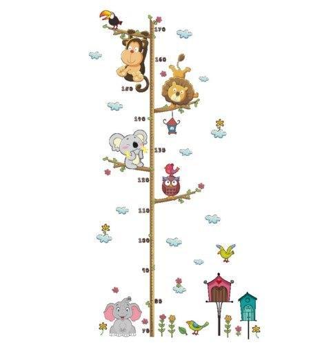Cute Cartoon Animals Pattern Height Measure Wall Sticker Decal Kids Favorite Adhesive Vinyl Bedroom Decor Waterproof Mildewproof