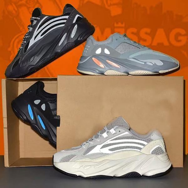 2019 700 Dalga Koşucu Leylak EE9614 Koşu ünlü markalar Ayakkabı Erkek Kadın B75571 Dikiş Renk En Kaliteli Atletizm Sneakers ABD 5-11.5 L6