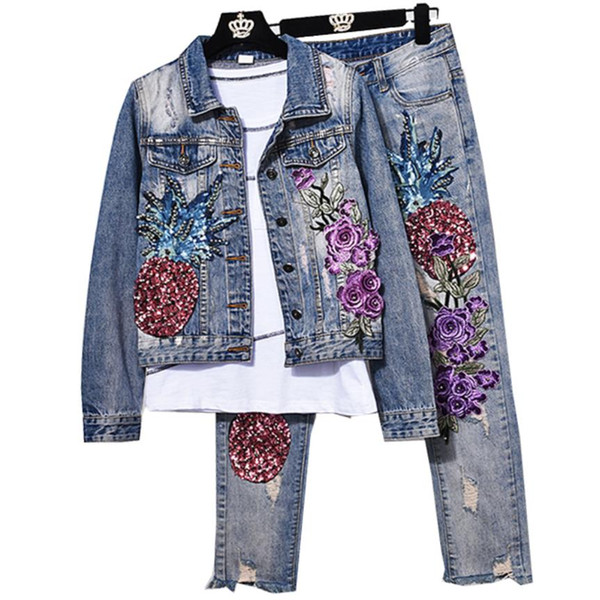 two pieces sets spring new fashion women hole pineapple sequin embroidery flower denim jacket+skinny jeans