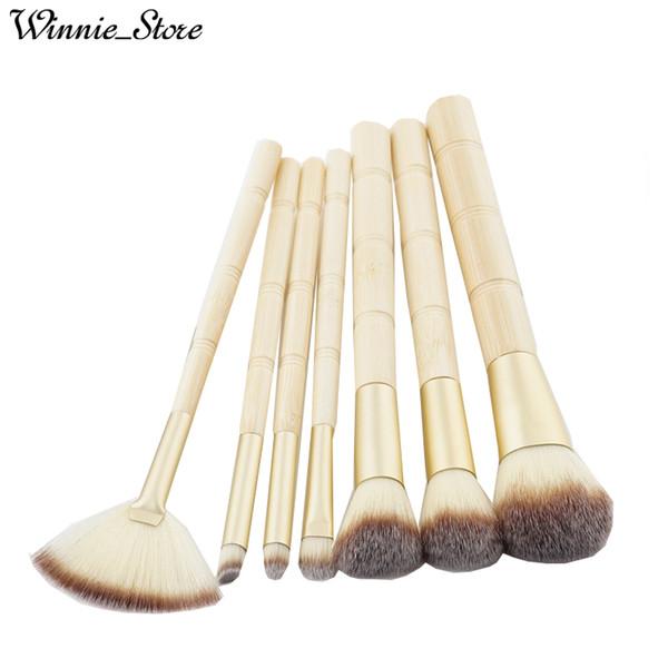 Livraison gratuite par ePacket! Date 7pcs pinceaux de maquillage ensemble en bambou poignée commune fard à paupières BB crème blush professionnel maquillage outils de brosse