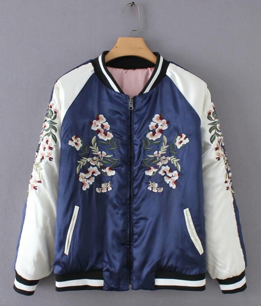 Women Fashion Floral Embroidery Double sided Bomber Jackets Autumn Long sleeve Zipper Jacket Pink Coats Female Outerwear C357