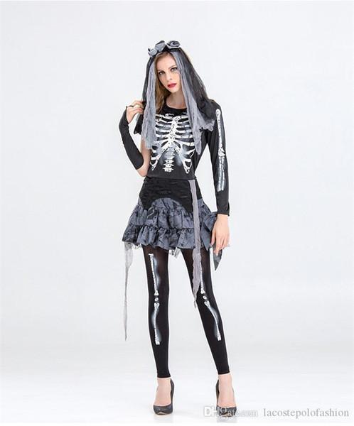 Cadılar bayramı Günü Bayan Giysileri Iskelet Gelin Cosplay Elbise Tasarımcısı Komik Elbise Parti Kadın Tema Kostüm