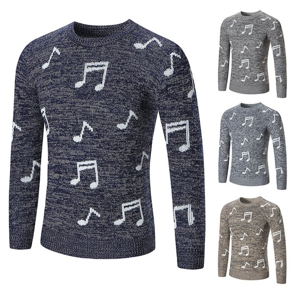 2019 Outono e Inverno Novos Modelos Desejo Explosão Moda Notas de Impressão Camisola Em Torno Do Pescoço Pullover Camisola Dos Homens Coreanos Magro