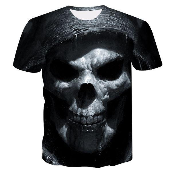 S-4XL Men Cool Skull Printed Casual T-shirt Short Sleeves Slim Tee Shirt Man Fitness Tank Top