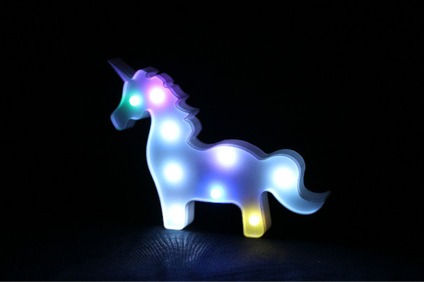 Changing Cute Unicorn Shape 3D LED Night Light Novelty Animal LED Wall Lamps AA Battery For Children kids Gift Home Wedding Decorations