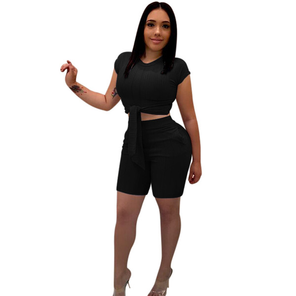 3XL Summer Women 2 Piece Set Crop Top and Shorts Slim Bodycon Lace Up Pants Set Ribbed Knitted Club Outfits Elegant Party Suit