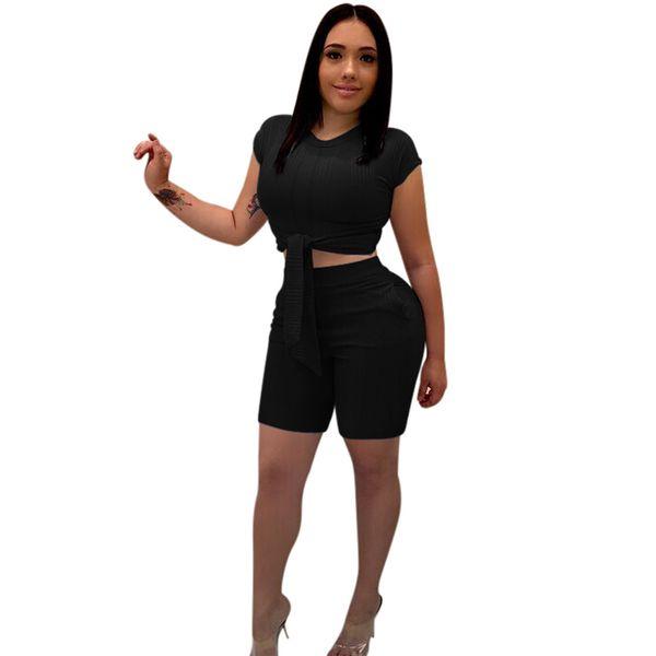 3XL Sommer Frauen 2 Stück Set Crop Top und Shorts Schlank Bodycon Lace Up Hosen Set Gerippte Strick Club Outfits Elegante Party Anzug