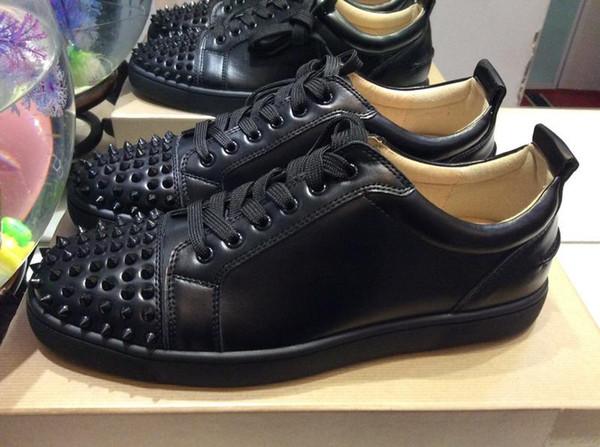 2019 Tasarımcı ayakkabı Spike Kırmızı alt Sneakers deri ayakkabı genç buzağı rahat mokasen ayakkabı Süet lüks erkek k ...