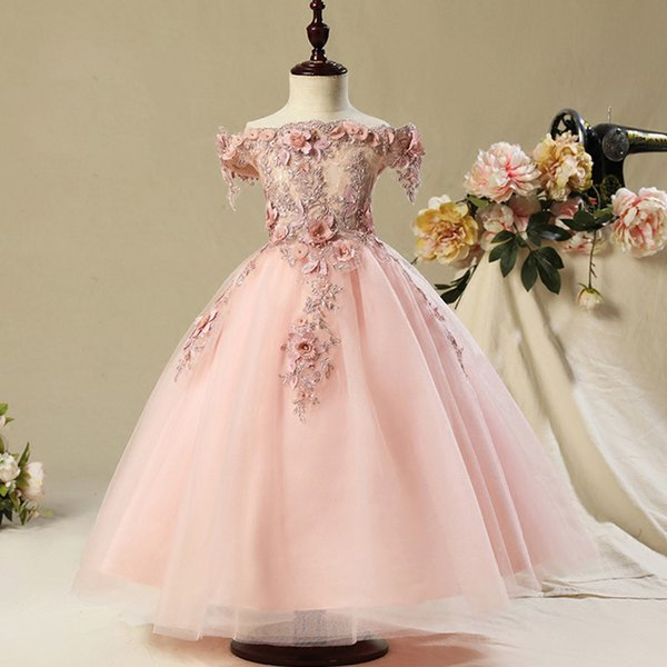 Flower Girl Bead Decoration Long Dress New Girl Wedding Party Exchange Dress Ball Beauty Sexy Shoulder Dress