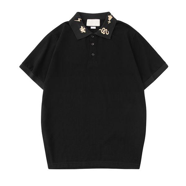 Mens Designer Polo Shirts Embroidery Neck Summer Short Sleeve Tshirt G Polo Fashion Casual Blouse Polos Tops Tees Black White S-2XL