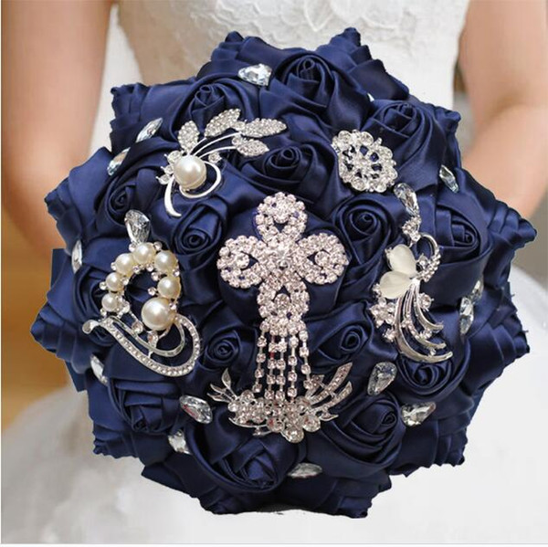2020 Gorgeous Navy Blue New Wedding Bridal Bouquets Bling Pearls