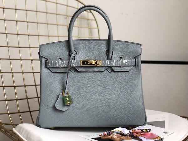 3ef7d9b792d0 2019 Новая пудра синяя Кожаная сумка Модная женская сумка на одно плечо  Дизайнерская платиновая роскошная сумочка
