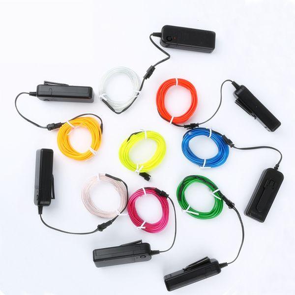 1m / 3m / 5M 3V Гибкий неоновый свет Glow EL Wire Rope лента Лента для кабеля Светодиодные неоновые огни Обувь Одежда Автомобиль водонепроницаемый светодиодные ленты