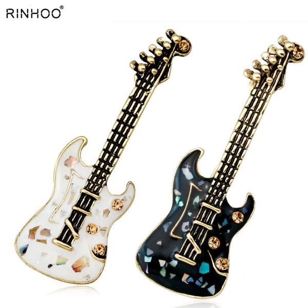 Pietra naturale chitarra violino verde Shell di cristallo spille Pins d'antiquariato Oro Stile Donne Broochmusical strumento di musica