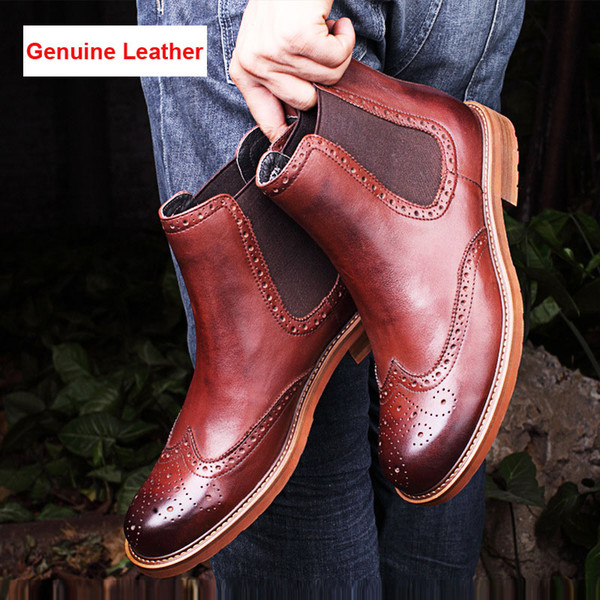 Mens Winter Fashion Round Toe Zip Genuine Leather Side Zip British Ankle Boots Men Autumn Comfortable Cowhide Short Boots Shoes Wedge Shoes Boots