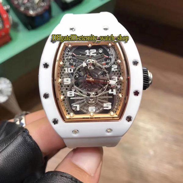 Mejor versión Nuevo RM 022 Caja de cerámica para aviones pesados Esqueleto Dial Japón Miyota Automático RM022 Reloj para hombre Correa de goma blanca Relojes deportivos
