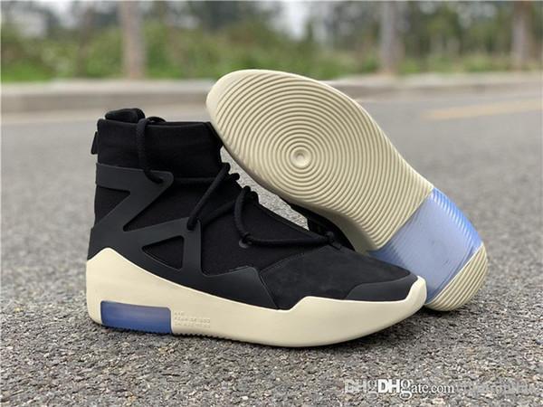 Authentique Air Crainte De Dieu 1 2018 Noir Brouillard Osseux Gris Hommes Chaussures De Basket-ball Baskets De Sport Avec La Boîte Originale AR4237-001