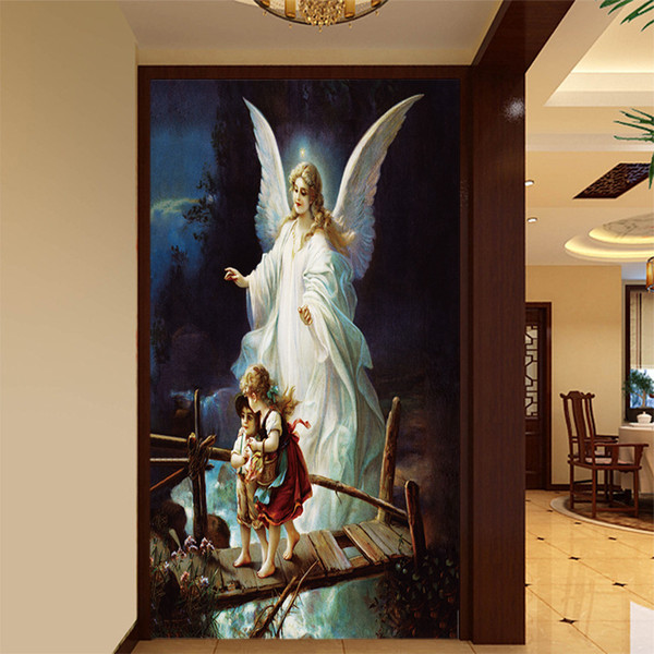 Acheter Grand 3d Mural Hôtel Décoration Peinture Papier Peint Européenne Peinture à L Huile Salon Couloir Couloir Porche Ange Figure Murale Revêtement