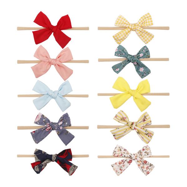 Hair Accessories Elastic Hair Bands Nylon Headbands For Girls Kids Newborn Red Plaid Floral Fabric Bow-knot Head Wear