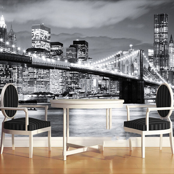 Fondo de pantalla 3D personalizado Ciudad moderna Vista nocturna de Europa y América Puente de Manhattan Mural de la sala de estar Fondo de sofá