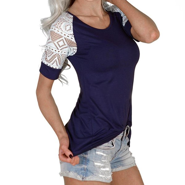 HOT Selling New Women Ladies Fashion Lace Crochet Patchwork T Shirt femme blusas Summer Casual Tee Tops camisetas mujer Cheap Z1