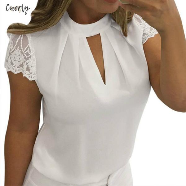 Frauen-reizvolle Blusas Blusen-Sommer-beiläufige hohle Chiffon- kurze Hülsen-Splice Spitze Tops Shirts Mujer Plus Size 3Xl
