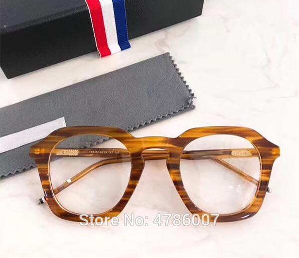 2019 thom Frames New Мужчины женщины Оптические Нерегулярные очки с большим ободком Очки с высокой близорукостью Рецепт Прозрачные линзы Glasse tb412