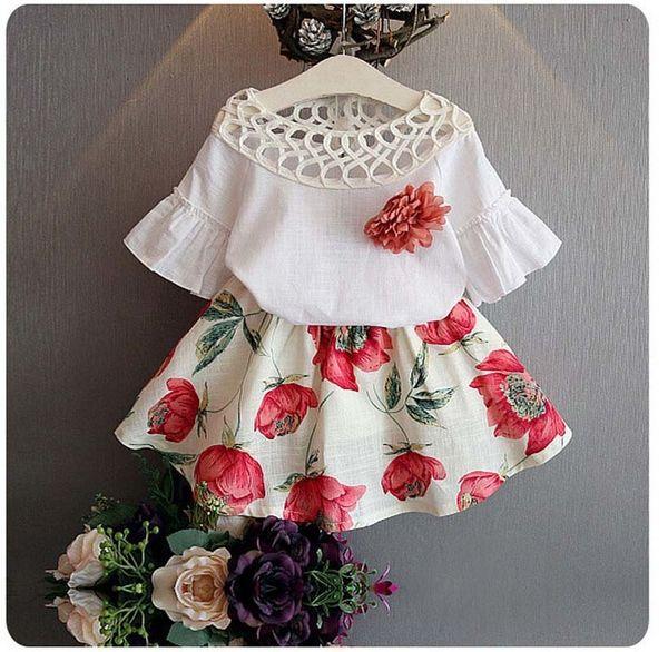 BibiCola Детская одежда устанавливает летние девушки спортивный костюм мода цветы девушки одежда наборы для С коротким рукавом Детская одежда наборы