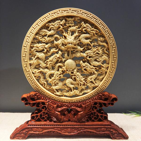 ornements de disque creux sculptés en bois massif sculpté disques artisanat bureau maison ornements cadeaux cadeaux peuvent être gravés logo
