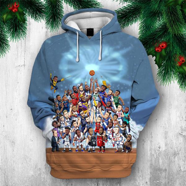 2019 Nouveau Sweat Personnaliser Personnalité De Basket-ball Impression 3D Hoodies Mode Pulls à Capuche Tops Hommes Vêtements Drop Shipping
