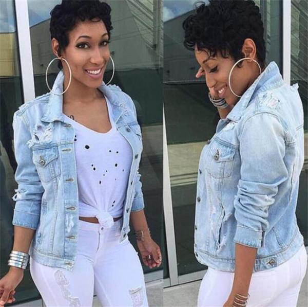 Mulheres Buraco Jeans Bolso Casacos Plus Size Manga Longa Moda Feminina Casaco Casual Primavera Mulheres Tops Outwear