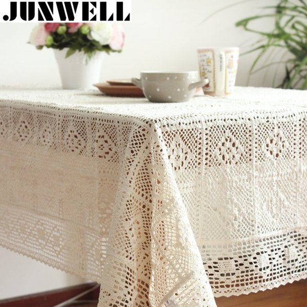100% coton tricoté dentelle nappe Shabby Chic Vintage nappe au Crochet coton à la main dentelle table topper