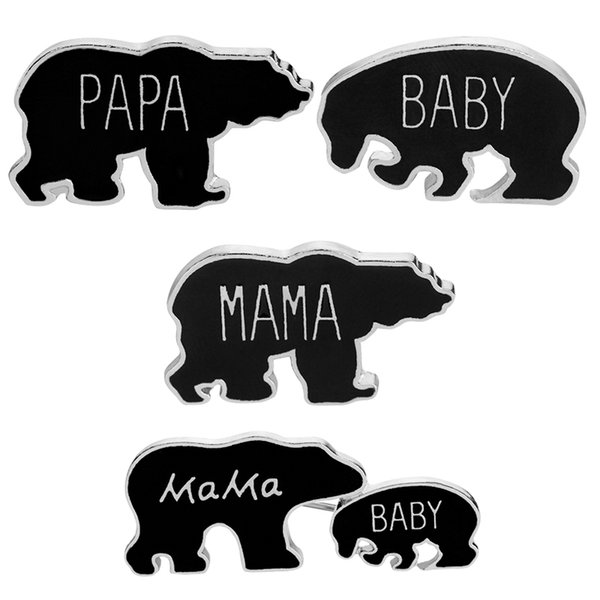 Papa Mama Baby Bear Black Enamel Cute Animal Lapel Badge Brooch Pinback Buttons Pins Family Jewelry Christmas Gift Mother Child