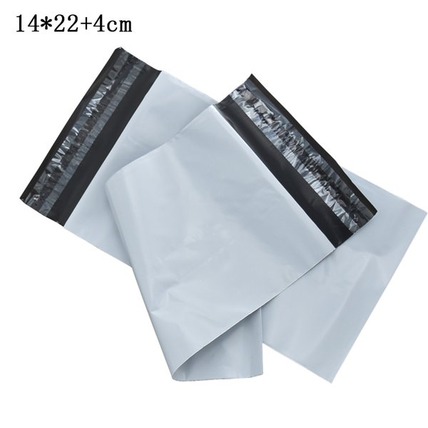 100pcs/lot 14x22+4cm White Courier Plastic Bag Post Express Shipping Mailing Package Bags Self Seal Mailer Packaging Envelope Pouches