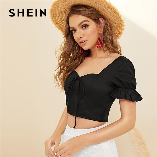 SHEIN Укороченный топ с бантом спереди и сзади 2019 Boho Beach Милая шея Черная летняя блузка Симпатичные приталенные женские топы и блузки
