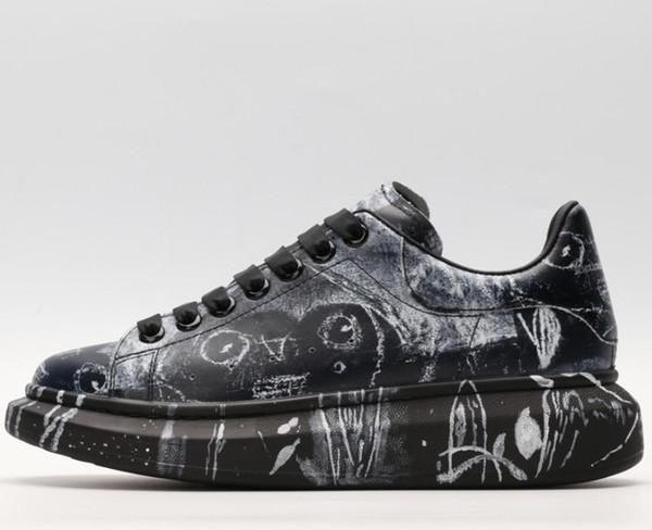 Novos sapatos de moda on-line plataforma de couro grandes solas dos homens de vendas sapatos pretos casuais sapatos da moda das mulheres