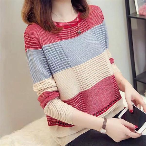 mujeres dulces último diseño del suéter del O-cuello jersey de punto suéteres gruesos de color mixto D373