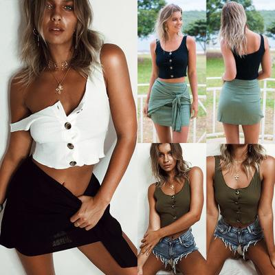 Women's Clothing Summer Short Button Tops & Tees Sexy Elastic Scoop Neck T-Shirt Hot Sale Free Shipping