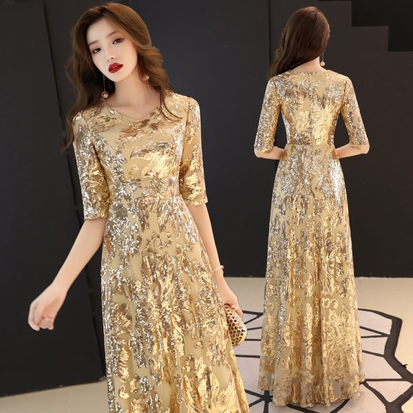 Female Chinese Style Dress Sequins Lace sexy Slim party dress evening Improved Qipao Size S-3XL