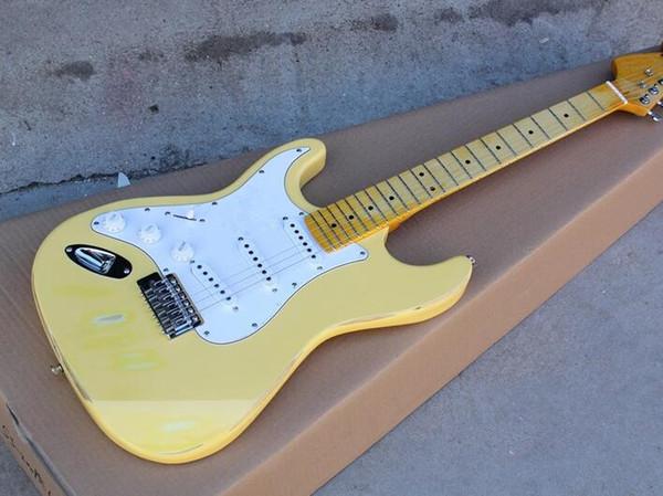 Guitare électrique côté usine avec corps jaune, jaune, avec usine de protection blanche, manche en érable, offre personnalisée selon vos demandes