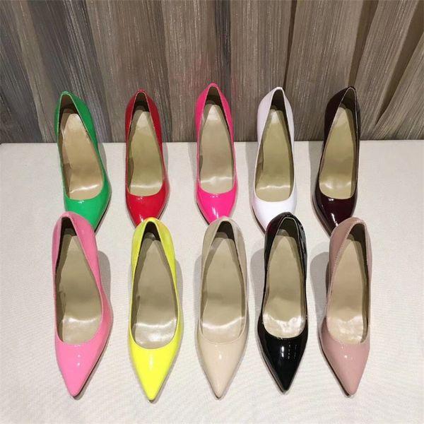 Moda Tasarımcısı Pompa Kızlar Yüksek Topuklu Kırmızı Alt Ayakkabı Sivri Burun Patent Deri Kadın Sandalet düğün Parti Elbise Ayakkabı Pompalar SZ 35-41