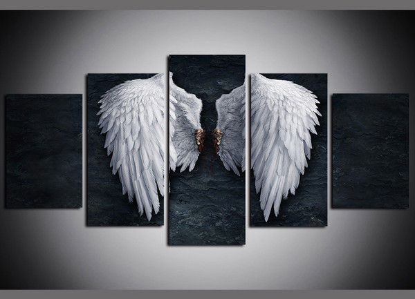 5 panels angel wings modern artworks giclee canvas wall art for kid home wall decor abstract poster canvas print oil painting