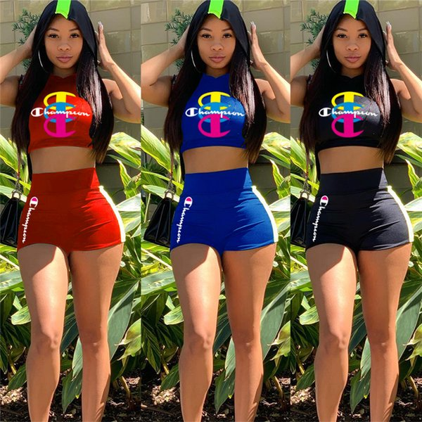 S-XXL Champion Hoodies Shorts Outfits Sleeveless Hooded Crop Tops + High Waist Shorts 2 Piece Summer Tracksuit Casual Sports Suit C51402