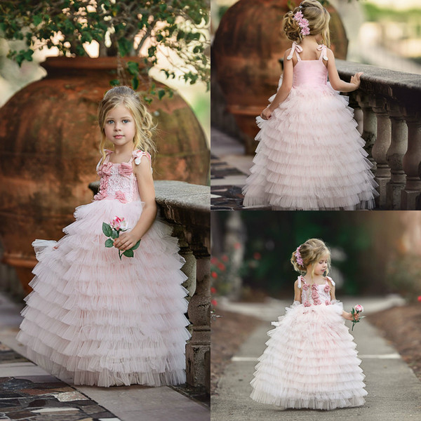light pink flower girl dresses for wedding square neck a line tiered skirts custom made girls pageant dress pricess cute formal kids gowns
