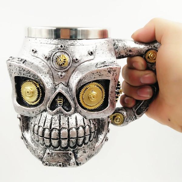Cráneo Taza Copa para beber Resina de esqueleto Equipo de cerveza Taza de café Taza de té Halloween Bar Drinkware LJJK1778